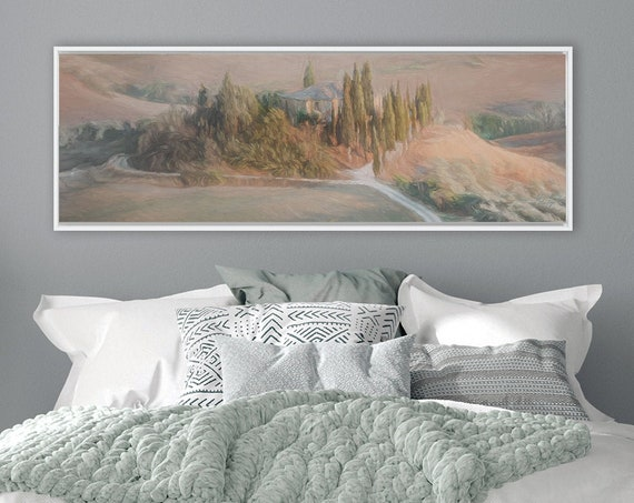 Tuscany, Wall Art, Oil Landscape Painting On Canvas - Ready To Hang Large Panoramic Canvas Wall Art Prints With, Or Without Floating Frames.