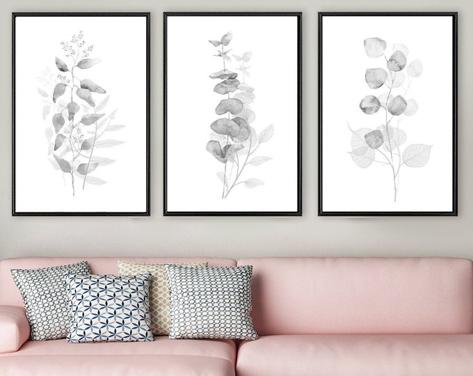 Featured listing image: Eucalyptus watercolor painting, minimalist set of 3 large black and white botanical wall art prints. Canvas art. Framed wall art. Watercolor