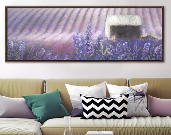 Lavender fields, oil landscape painting on canvas - ready to hang large gallery wrap canvas wall art prints, with or without floater frames.