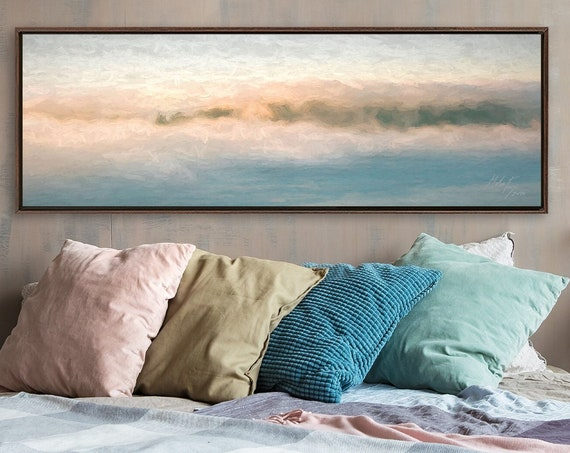 Sunrise Clouds, Oil Celestial Painting On Canvas - Ready To Hang Large Gallery Wrap Canvas Wall Art Prints With, Or Without Floating Frames.