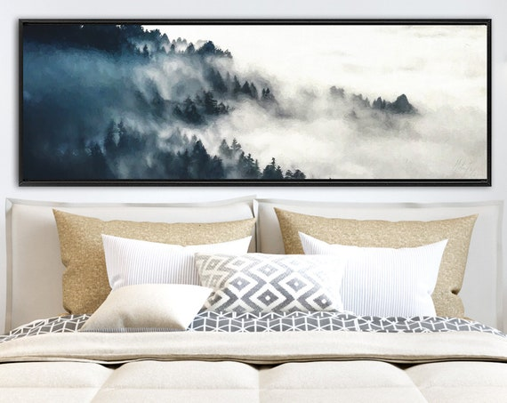 Foggy Forest Mountain Oil Landscape Painting - Ready To Hang Large Panoramic Wrapped Canvas Wall Art Prints With Or Without Floating Frames.