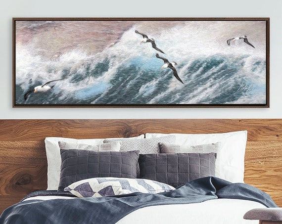 Ocean Wall Art, Impressionist Oil Painting On Canvas - Ready To Hang Large Panoramic Canvas Wall Art Prints With Or Without Floating Frames.