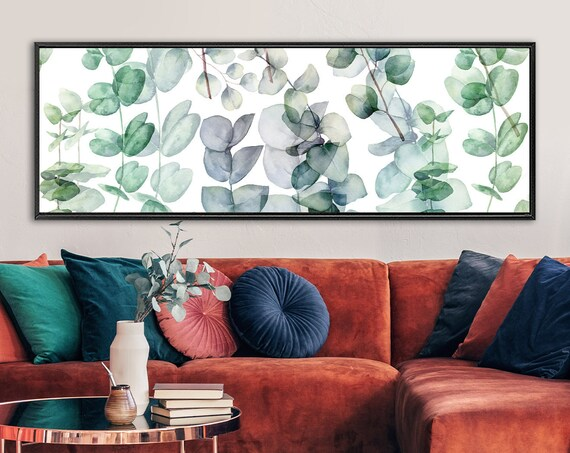 Green And Purple Watercolor Eucalyptus Twigs Painting - Ready To Hang Large Gallery Wrap Canvas Wall Art Prints With Or Without Float Frames