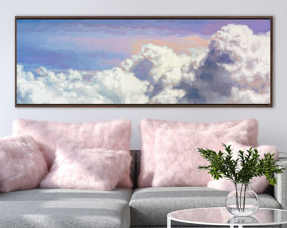 Cloud. Blue celestial wall art, acrylic painting on canvas - large panoramic gallery wrap canvas wall art prints with or without float frame