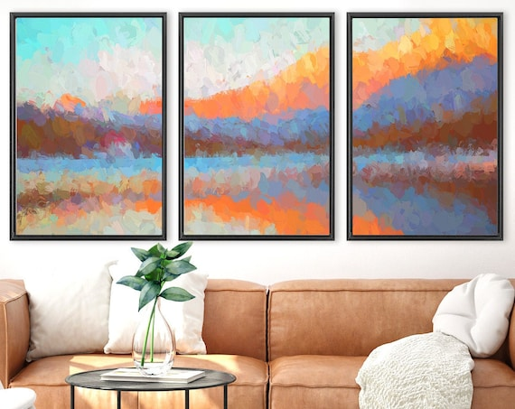Misty mountain forest, large oil landscape painting on canvas - set of 3 gallery wrap canvas wall art prints with or without floater frames.