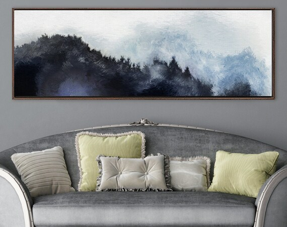 Foggy Mountain Forest Landscape, Oil Impressionist Painting On Canvas - Large Gallery Wrap Canvas Wall Art Print With Or Without Float Frame