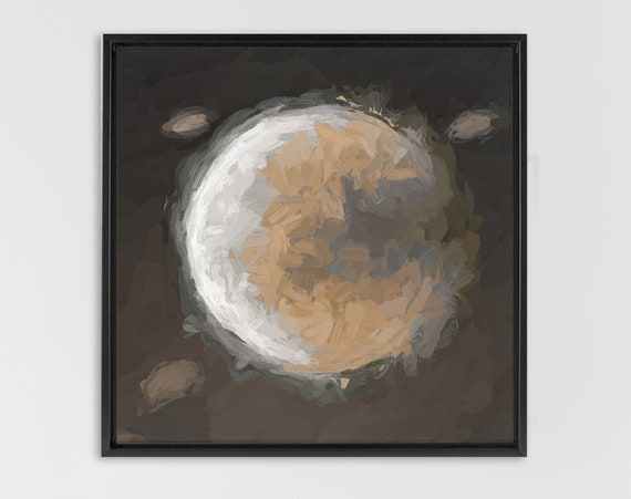 Full moon wall art, large oil painting on canvas - ready to hang gallery wrap canvas wall art prints with or without external floater frames