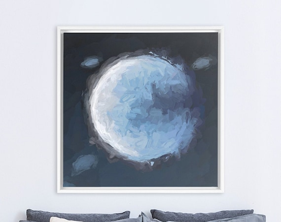 Moon wall art, large navy blue oil painting on canvas - ready to hang gallery wrap canvas wall art prints, with or without floating frames.