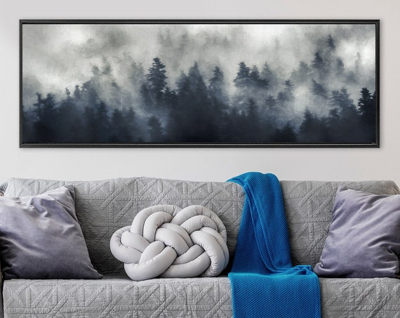 Foggy mountain forest landscape, oil painting on canvas - large panoramic gallery wrap canvas wall art prints with or without floater frames