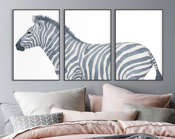 Zebra watercolor painting. Large black and white triptych wall art prints. Large wall art, set of 3 prints, canvas wall art, metal wall art.