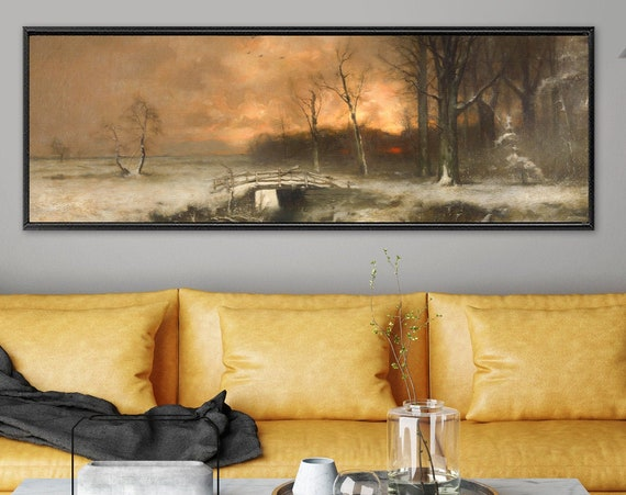 Burnt orange sunset forest landscape, oil painting on canvas - large gallery wrap canvas wall art print with or without external float frame