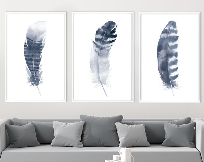Featured listing image: Navy blue wall art, navy blue watercolor, navy blue feather, feather watercolor, watercolor wall art, large wall art, set of 3 prints