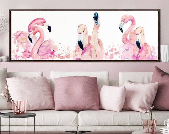 Pink flamingos watercolor painting wall art - ready to hang large panoramic gallery wrap canvas wall art print with or without floater frame