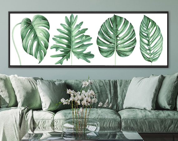 Monstera tropical decor, watercolor painting - ready to hang large panoramic gallery wrap canvas wall art prints with or without float frame