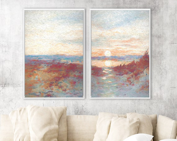 Sunset beach, landscape painting on canvas - set of 2 ready to hang large gallery wrap canvas wall art prints with or without floater frames