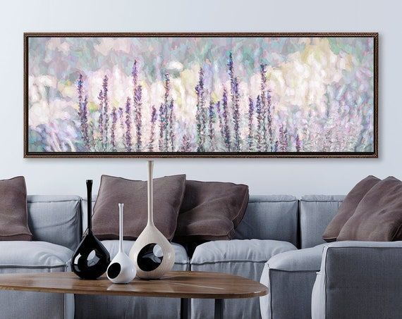 Lavender meadow wall art, oil landscape painting on canvas - ready to hang large wrapped canvas art prints with or without floating frames.