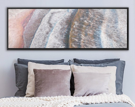 Waves, Wall Art, Impressionistic Seascape, Oil Painting On Canvas - Large Panoramic Canvas Wall Art Prints With Or Without Floating Frames.