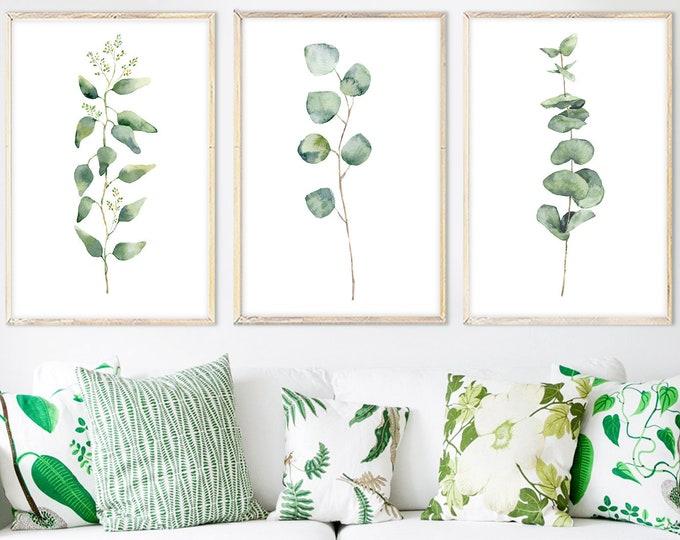 Featured listing image: Eucalyptus print, large wall art, eucalyptus branch, watercolor art, botanical print set, green eucalyptus, eucalyptus leaves, botanical art