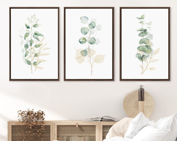 Eucalyptus branch prints, large botanical watercolor wall art - set of 3 gallery wrap canvas wall art prints with or without floater frames.