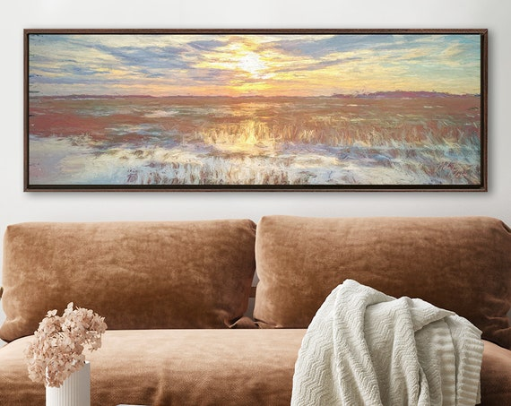 Sunset, Coastal Oil Landscape Painting On Canvas - Ready To Hang Large Gallery Wrap Canvas Wall Art Prints With Or Without Floating Frames.
