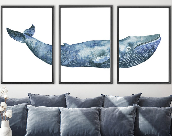 Featured listing image: Whale art - navy blue humpback whale watercolor painting. Large triptych wall art - set of 3 canvas wall art prints with or without frames.