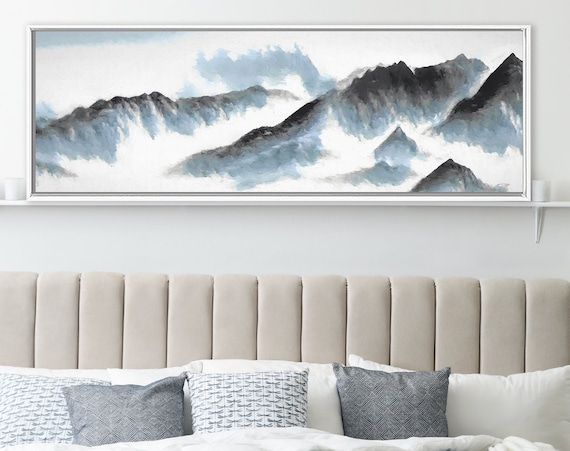 Gray and blue mountains landscape, oil painting on canvas - large panoramic gallery wrap canvas wall art print with or without floater frame