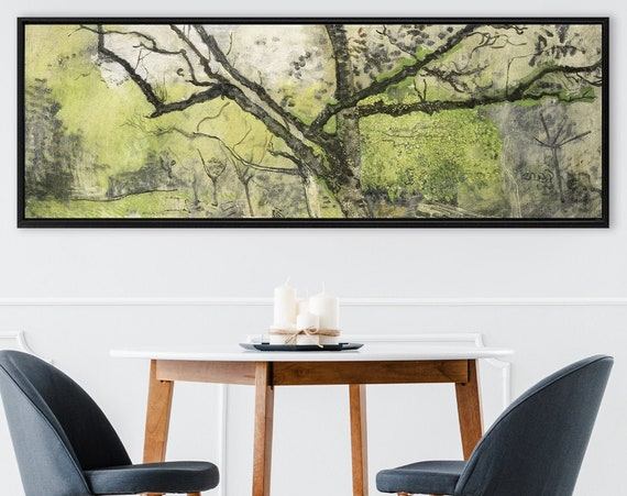 Forest wall art, watercolor landscape painting - ready to hang large panoramic gallery wrap canvas art prints with or without floater frames