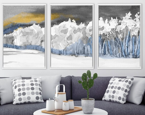 Forest triptych wall art, large watercolor landscape painting - set of 3 gallery wrap canvas wall art prints with or without floater frames.