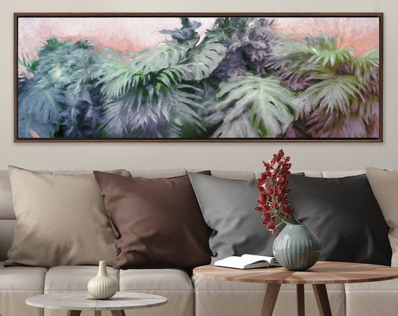 Botanical Print, Palm Leaf, Monstera Leaf & Banana Leaf Oil Painting On Canvas - Gallery Wrap Canvas Wall Art With Or Without Floater Frame.