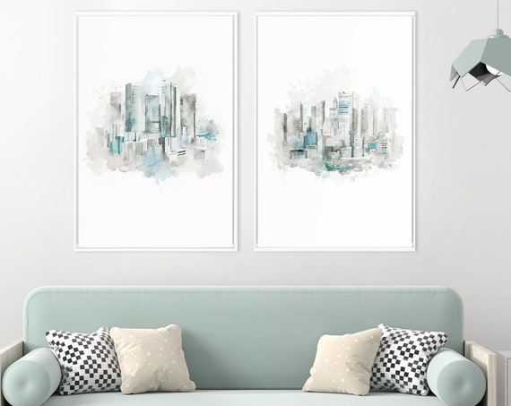 Landscape watercolor, city landscape art, watercolor wall art, large wall art, city watercolor, city skylines, city print, set of 2 prints