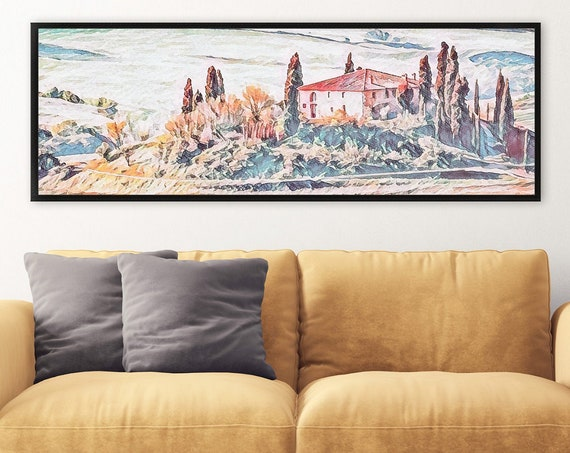 Tuscany, watercolor landscape painting - ready to hang large panoramic gallery wrap canvas wall art prints, with or without floating frames.