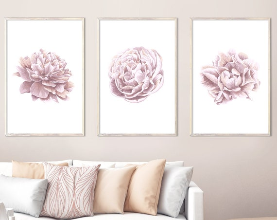 Watercolor peony, large wall art, watercolor flowers, peony painting, watercolor painting, pink flower, pink peony, wall art set of 3 prints
