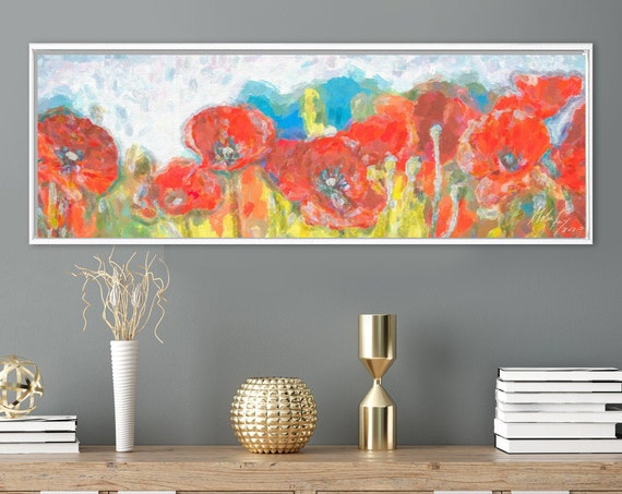 Red poppies. Floral wall art, oil painting on canvas - ready to hang large botanical canvas wall art prints with or without floating frames.