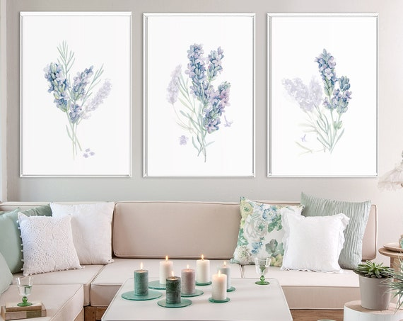 Lavender, watercolor flowers painting. Minimalist set of 3 large purple botanical wall art prints. Posters or ready to hang canvas wall art.