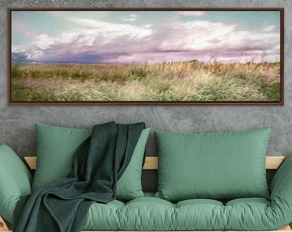 Meadow, oil landscape painting on canvas - ready to hang large panoramic gallery wrap canvas wall art prints with or without floater frames.