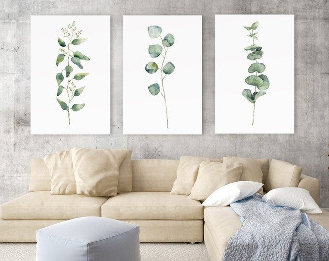 Featured listing image: Eucalyptus print, large wall art, eucalyptus branch, watercolor art, botanical print set, green eucalyptus, eucalyptus leaves, botanical art