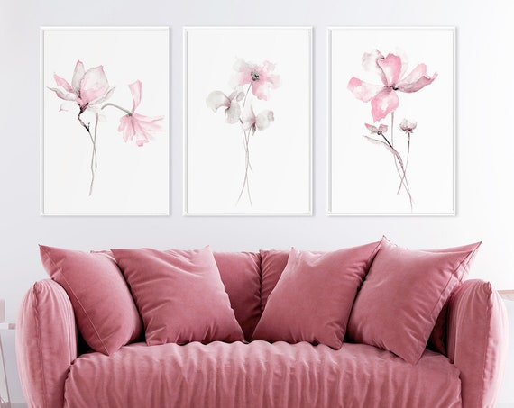 Pink poppies, Pink poppy painting, Pink flower prints, Pink prints set, Pink watercolor art, wall art prints, botanical print set, wall art.