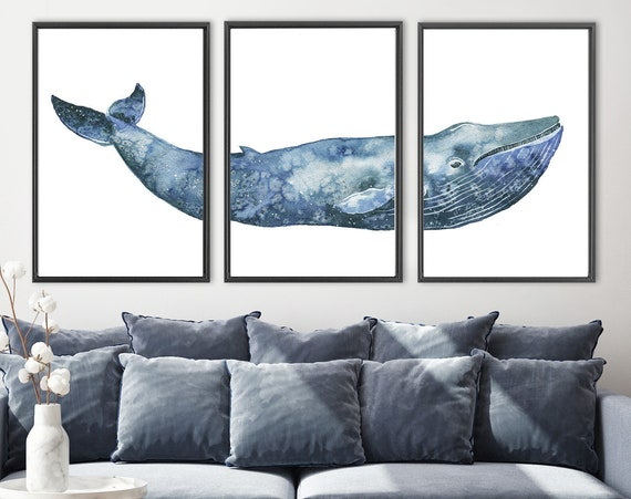 Whale art, navy blue humpback whale watercolor painting, large triptych wall art - set of 3 canvas art prints with or without floater frames