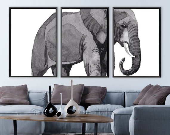 Elephant triptych, large gray watercolor painting - set of 3 ready to hang gallery wrap canvas wall art prints with or without float frames.