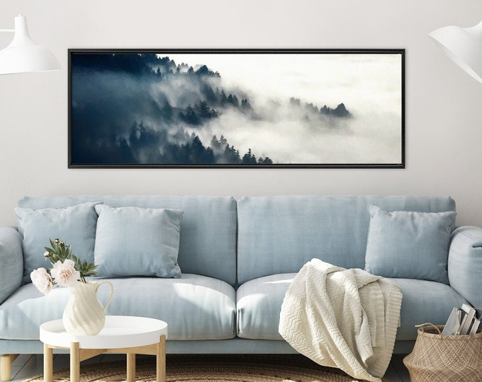 Featured listing image: Foggy mountain forest. Nordic art, oil landscape painting on canvas. Ready to hang large framed panoramic canvas art or metal wall art print