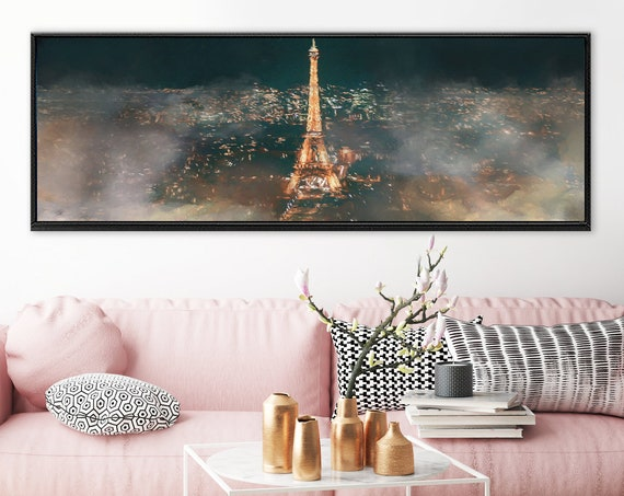 Paris, Eiffel Tower foggy night cityscape art, oil painting on canvas - large panoramic canvas wall art prints with or without float frames.