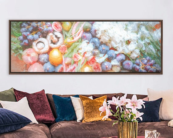 Fruits - still life. Kitchen wall art, oil painting on canvas - ready to hang large panoramic canvas art print with or without floater frame