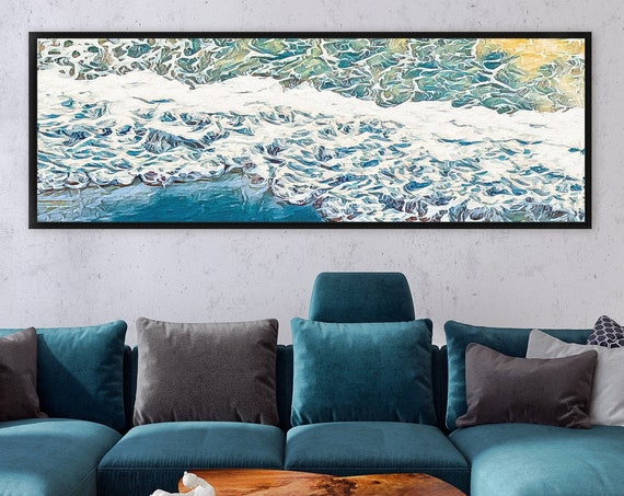 Wave, watercolor seascape, coastal landscape painting - ready to hang large panoramic canvas wall art prints with or without floating frames