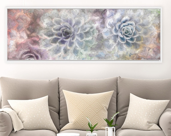 Succulent wall art, oil painting on canvas - large purple & green botanical gallery wrap canvas wall art print with or without floater frame