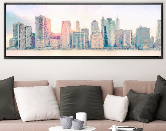 New York City skyline art, acrylic landscape painting on canvas - ready to hang large panoramic canvas wall art prints with or without frame