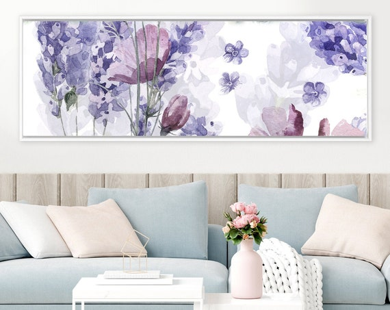 Lavender, abstract watercolor floral painting - ready to hang large panoramic gallery wrap canvas wall art print with or without float frame
