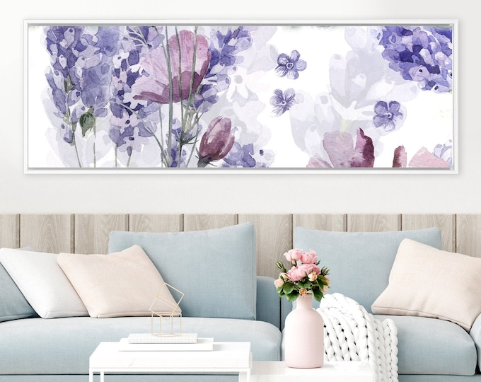 Featured listing image: Lavender - abstract floral painting, large canvas botanical wall art print, purple watercolor flowers painting, framed canvas fine art print