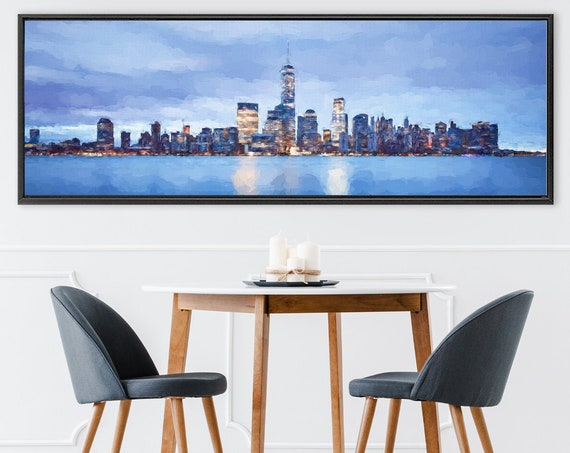 New York City night light skyline art, acrylic landscape painting on canvas -ready to hang large canvas wall art print with or without frame