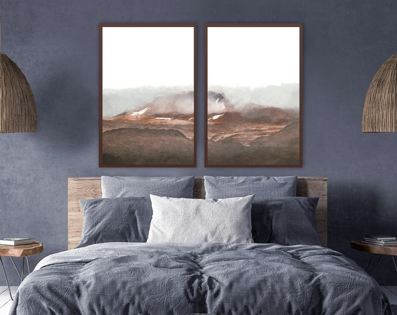 Foggy mountain - large brown watercolor wall art. Abstract landscape painting, set of 2 art posters, or ready to hang framed canvas wall art