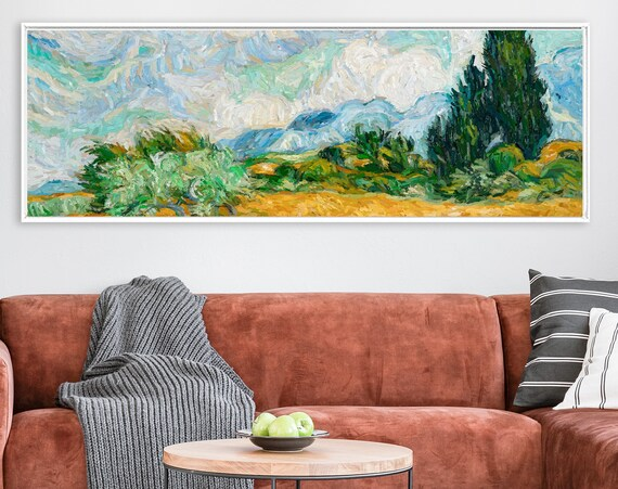 Van Gogh style canvas wall art, post-impressionist oil landscape painting - large gallery wrap canvas wall art prints with or without frames